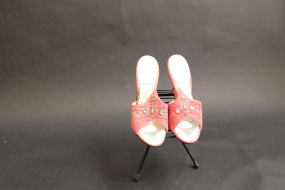 Vintage 1950s Spring-o-lators Heels Shoes Pink Spi - image 6