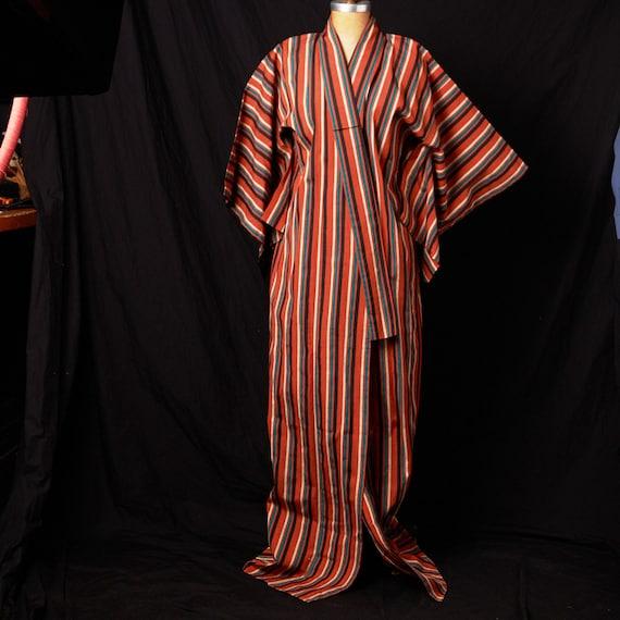 1950s Striped Cotton Homespun Kimono - image 1
