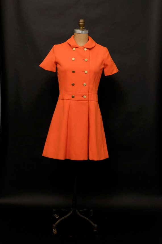 1970s Mod Bright Orange Mini Dress