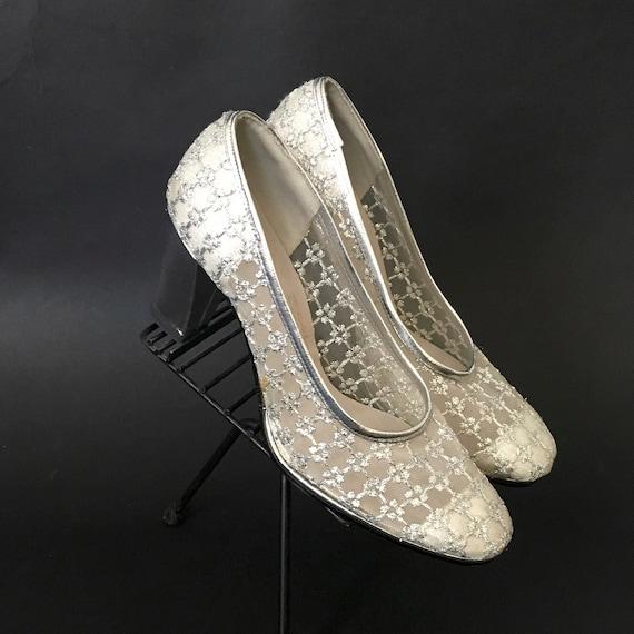 Vintage 1960s Silver Mesh Pumps Heels