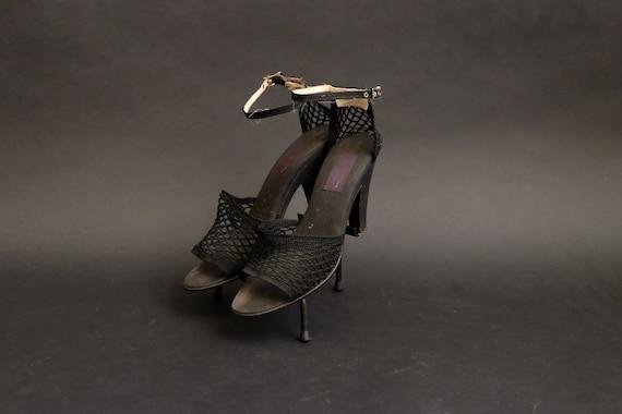 Vintage Jacques Cohen Black Fishnet Heels