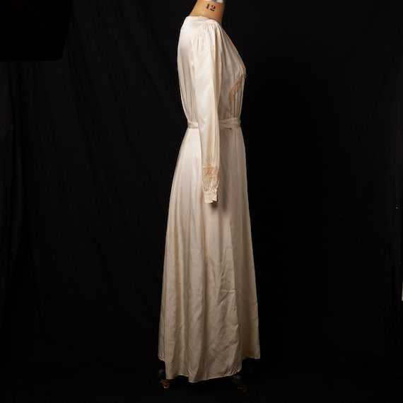 1940s Bridal Satin Robe Dressing Gown - image 4