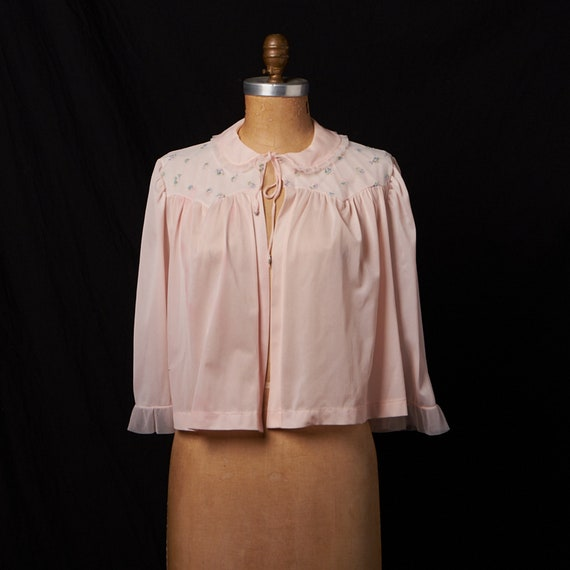 Vintage Nylon Pink Embroidered Bed Jacket Lingerie
