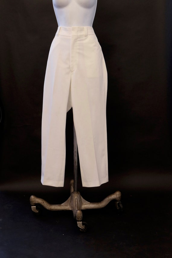 1970s Haband Gold Leisure Pants White