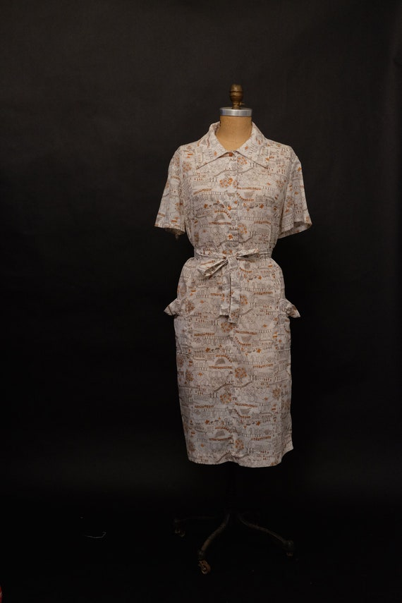 1950s Novelty Print Shirt Dress