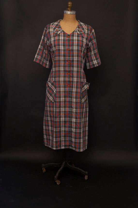 1950s Plaid Shift House Dress