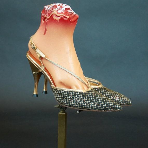 Vintage 1970s Slingback Black Sparkly Heels Shoes
