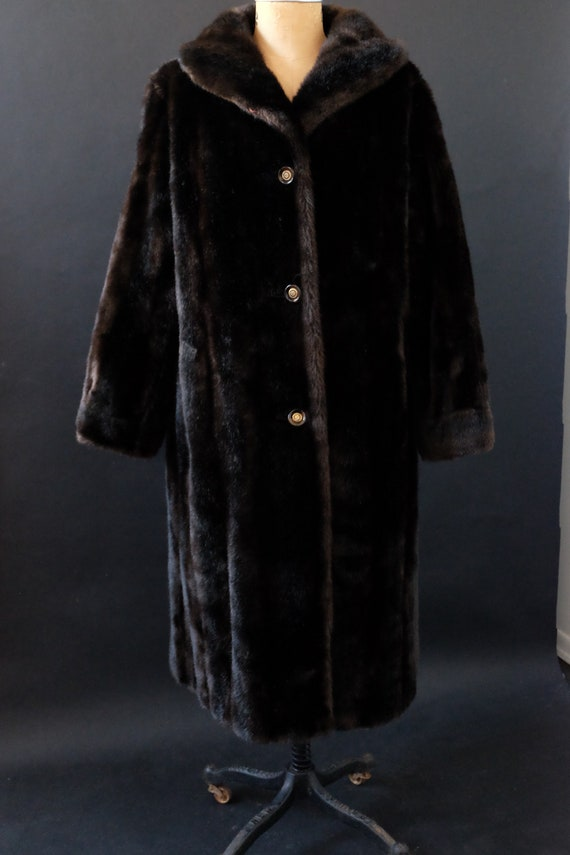 Soft Vintage Fake Faux Fur Coat Black Dark Brown