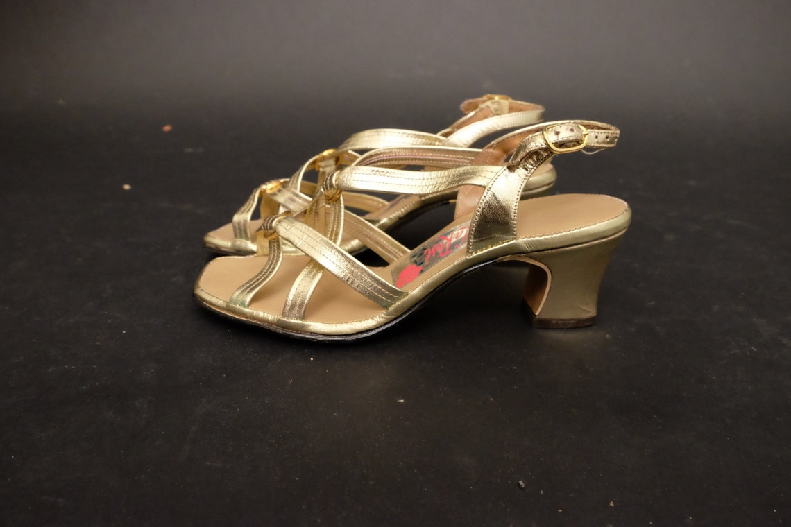 1960s Deadstock Gold Strappy Sandals