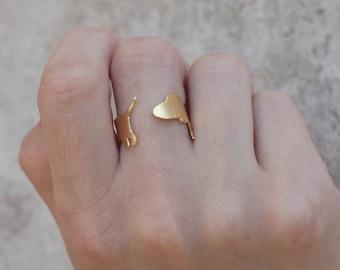 Gold Dachshund Ring, Dog Ring, Dachshund Jewelry, Doxie Ring, Animal Ring, Sausage Dog Ring, Wiener Dog Ring, Miniature Dachshund