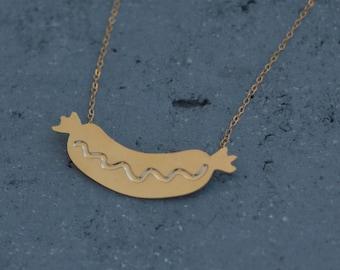Gold Hotdog Necklace, Hotdog with Mustard, Food Necklace, Barbecue Necklace, Miniature Hot Dog Necklace, Hotdog Jewelry, Sausage Jewelry