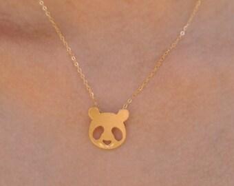 Panda Necklace, Panda Jewelry, Gold Panda, Cute Panda Face Necklace, Panda Charm, Gift for Her, Smiling Panda, Gift for Animal Lovers