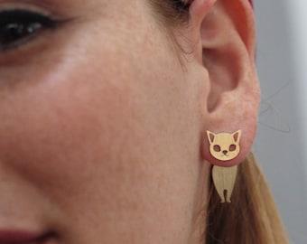 Cat Ear Jacket, Gold Cat Earrings, Gift for Cat Lovers, Cat studs, Cat Jewelry, Cat Silhouette, Kitten Earrings, Cute Cat, Cat Lovers Gift
