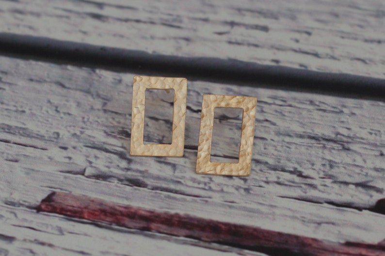 Modern Rectangular Earrings Hammered Earrings Gold Geometric Earrings Rectangle Studs Rectangle Posts Gold Hollow Rectangle Earrings