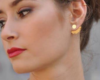 Gold Wing Ear Jacket, Double Sided Earrings, Front and Back Feather Earrings, Wing Earrings, Feather Ear Jacket, Wing Jewelry, Hand Fan