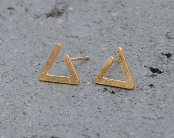 Gold Triangle Earrings, Golden Post Earrings, Minimal Earrings, Geometric Earrings, Modern Earrings, Open Triangle Studs, Triangle Posts