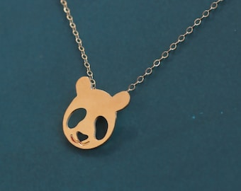 Panda Bear Necklace, Gold Bear Charm , Panda Gifts , Gold Panda Pendant , Gold Panda Necklace , Panda Face , Panda Jewelry , Animal Lovers