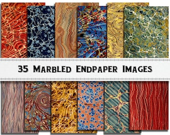 100 Year Old Marbled Paper in Vibrant Colors Vintage Marbled Endpapers