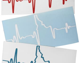 Idaho EKG Heartbeat Die-Cut Sticker -BANANA ink