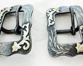 New Pair Black Steel Square C Center Bar Buckles 3 4 quot Engraved German Silver Overlay Western Horse Tack Hardware Headstall