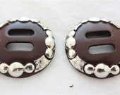 New Pair Clovis Slotted Hansen Western Gear Conchos Brown Iron Sterling Overlay Horse Tack Saddle Strings Hardware