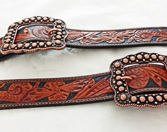 98a5b2adebc4 Belt Style Spur Straps Vintage Resistol Carved Floral Repurposed Leather  OOAK Western Boot Horse Tack Adult Copper Berry Buckles
