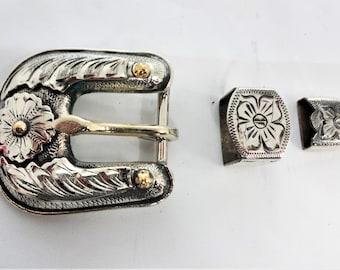 Sierra Flower Square Concho Bridle Loop Hansen Western Gear Brown Iron Sterling Silver Scarf Slide Headstall Horse Tack