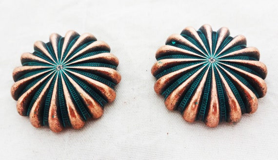 WESTERN HORSE HEADSTALL SADDLE TACK COPPER ENGRAVED ROPE EDGE CONCHOS 1 inch