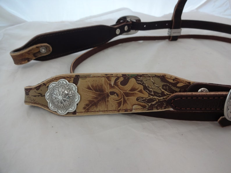 Headstall West Coast Tack Camo Forest Print Leather Rich Brown Jeremiah Watt Buckles Conchos Camouflage