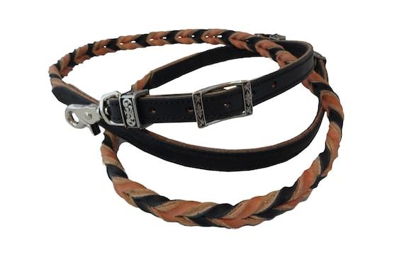 West Coast Tack Reins Heavy Hermann Oak Black Harness Leather Rope Barrel Reins Blood Twist Western Horse USA