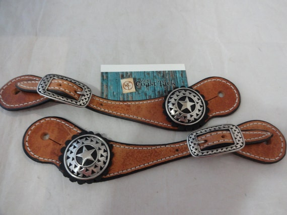 West Coast Tack Hermann Oak Harness Leather Western Spur Straps Stitched Jeremiah Watt Conchos Rosettes Buckles Pair New