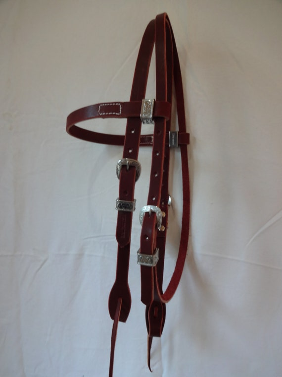 Heavy Rich Brown Harness Leather Roping Barrel Rein 8 Foot Long Water Ties Snap Horse Tack Western