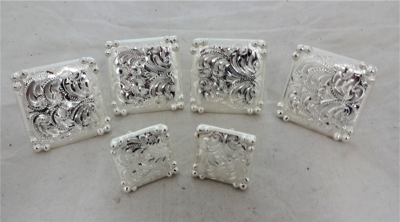 6 Piece Hansen Western Conchos Manzanillo Silver plate Horse Saddle Wood Screws