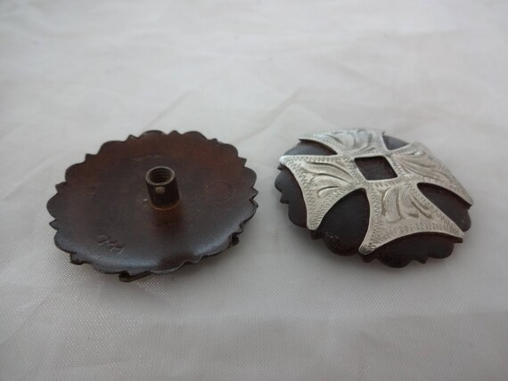 "Pr Dakota Bubble Hansen Western Gear 1/"" Brown Iron Concho Silver Overlay Screws"