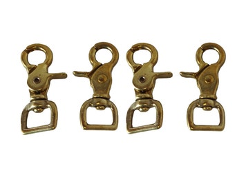 Set of 4 Solid Brass Trigger Snaps Flat Square End Scissor New Western Horse Tack Hardware