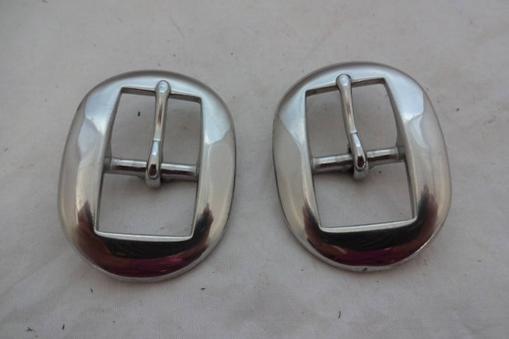 Pair Stainless Steel Oval Cart Buckles Horse Tack Belt Hardware Uptugs Western