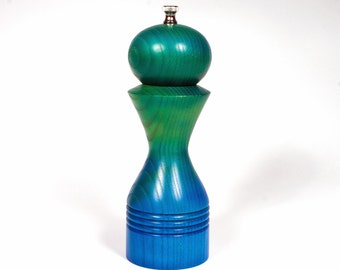 Colorful Pepper Grinder, Airbrushed Ash Pepper Mill, Peppermill Green Blue, Christmas Present, Wedding Present