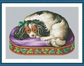 Black and White Dog on the Leaf Pillow Antique Dog Tapestry Counted Cross Stitch Pattern PDF
