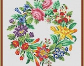 Berlin Woolwork Antique Multifloral Wreath 1 Counted Cross Stitch Pattern PDF