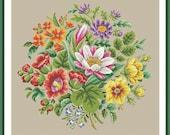 Berlin Woolwork Multifloral Bouquet 2 Antique Bouquet Cross Stitch PDF Pattern