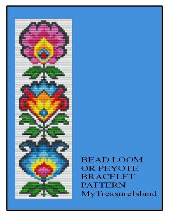Bead Loom Of Peyote Poolse Volkskunst Bloemen Armband Patroon Etsy