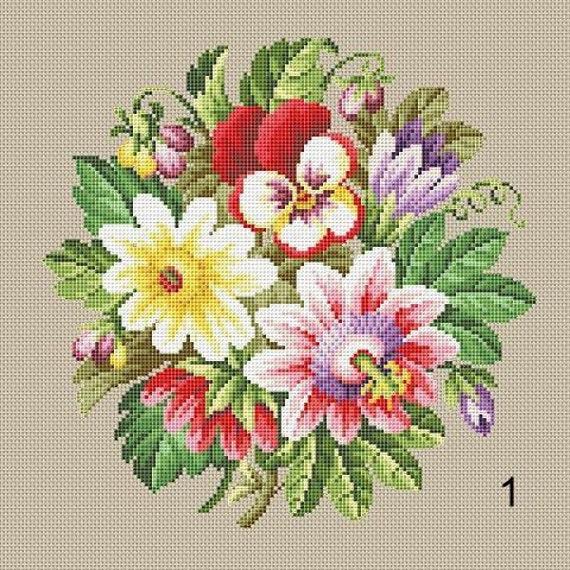 Berlin Woolwork Bouquet 1 2 3 Individualcharakter Antike Etsy