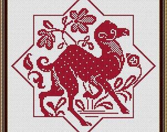 Camel Cross Stitch Pattern Camel Vintage Floral Pattern Camel Monochrome Counted Cross Stich Pattern PDF