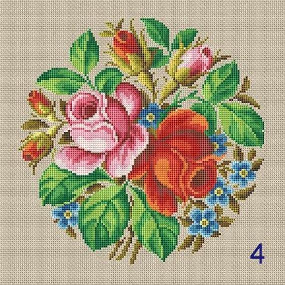 Berlin Woolwork Rosen Bouquet 4 Undoder Antike Bouquet 5 Etsy