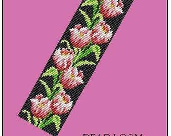 Bead Loom Tulips Floral Border Tulips Flowers Bracelet Pattern PDF