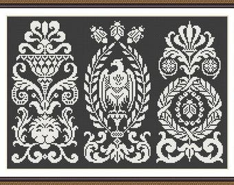 Antique Motifs 9 Sampler Motifs Monochrome Counted Cross Stich Pattern PDF format
