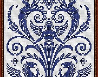 Antique Scene 3 Monochrome Counted Cross Stich Pattern