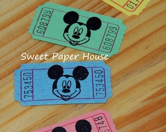 60 Mickey Mouse Carnival Tickets Disney Circus Raffle VIP Hand Stamped Cartoons Old Cruise Wedding Baby