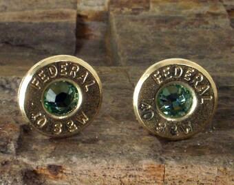 Federal 40 S&W Bullet Earrings - Stud Earrings - Ultra Thin - Peridot