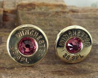 Bullet  Earrings  - Stud Earrings - Ultra Thin - Rose - October Birthstone